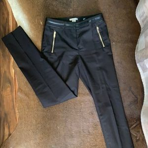 "H&M Black dress pants with ""leather"" detail"